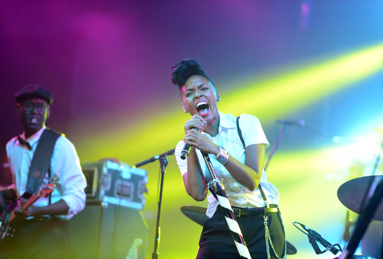 NEW ORLEANS, LA - FEBRUARY 02:  Singer Janelle Monae performs onstage at Bud Light Presents Stevie Wonder and Gary Clark Jr. at the Bud Light Hotel on February 2, 2013 in New Orleans, Louisiana.  (Photo by Stephen Lovekin/Getty Images for Bud Light)