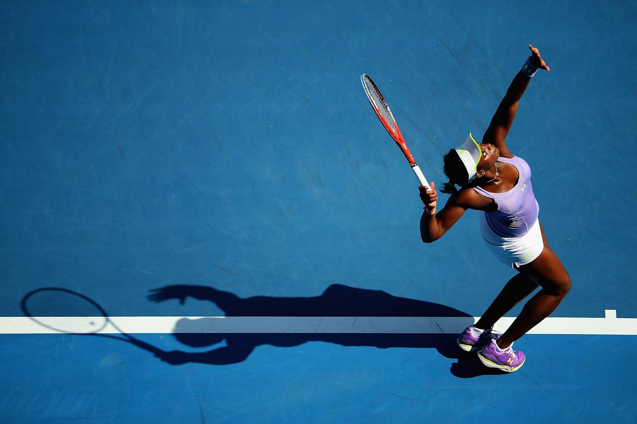 MELBOURNE, AUSTRALIA - JANUARY 21:  Sloane Stephens of the United States serves in her fourth round match against Bojana Jovanovski of Serbia during day eight of the 2013 Australian Open at Melbourne Park on January 21, 2013 in Melbourne, Australia.  (Photo by Lucas Dawson/Getty Images)