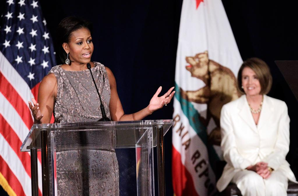 Photo by: (AP Photo/Marcio Jose Sanchez)<br />Michelle Obama speaks at a fundraiser for the Democratic Congressional Campaign Committee in San Francisco, Oct. 25, 2010.-<br />First lady Michelle Obama, left, speaks as House Speaker Nanci Pelosi, right, listens at a fundraiser for the Democratic Congressional Campaign Committee in San Francisco, Monday, Oct. 25, 2010.