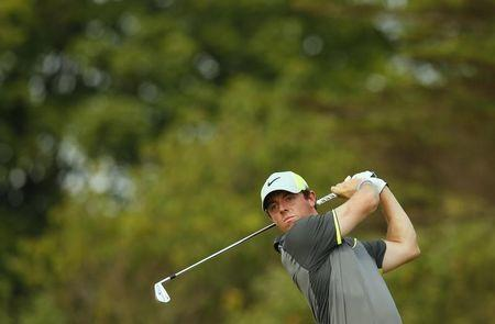 Rory McIlroy of Northern Ireland watches his tee shot during the second round of the British Open Championship at the Royal Liverpool Golf Club in Hoylake