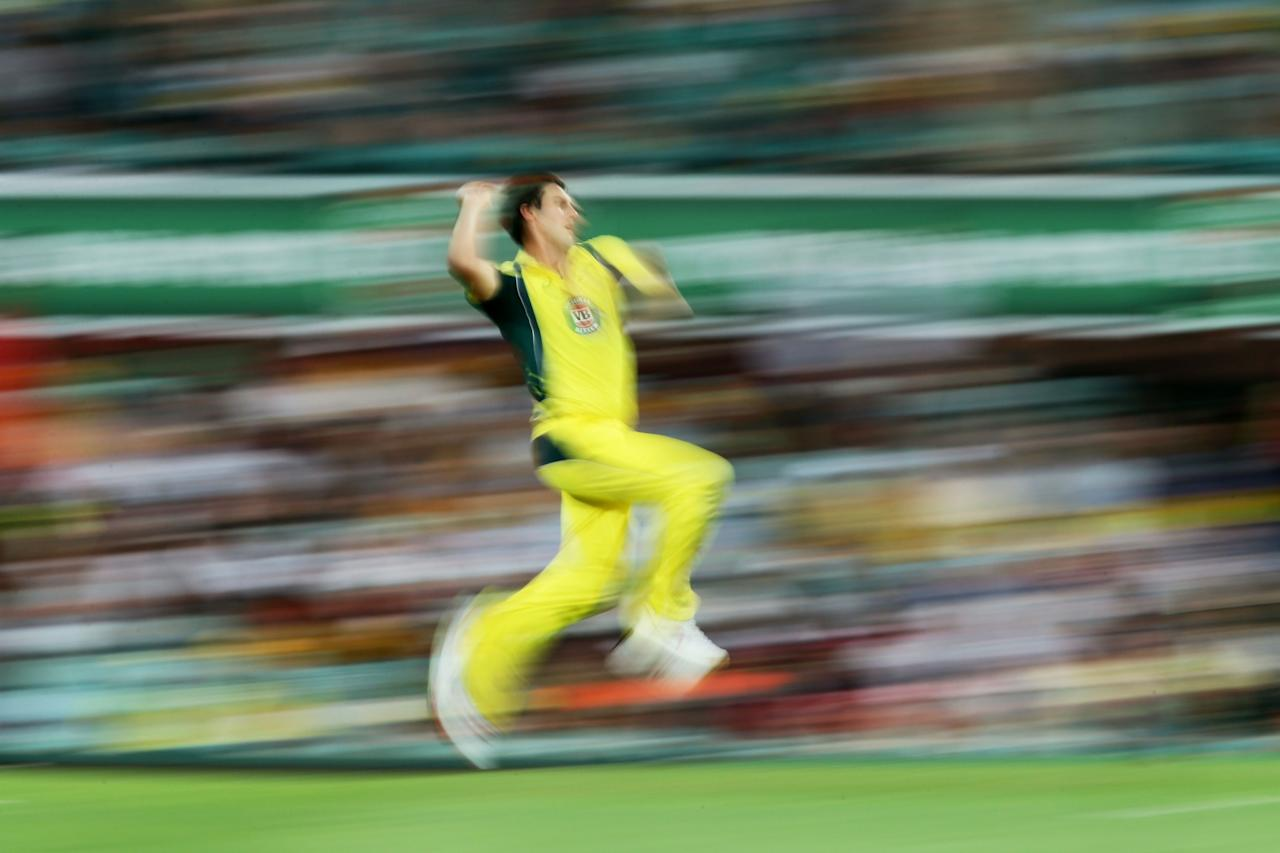 <p>DECEMBER 04: Pat Cummins of Australia bowls during game one of the One Day International series between Australia and New Zealand at Sydney Cricket Ground on December 4, 2016 in Sydney, Australia. </p>