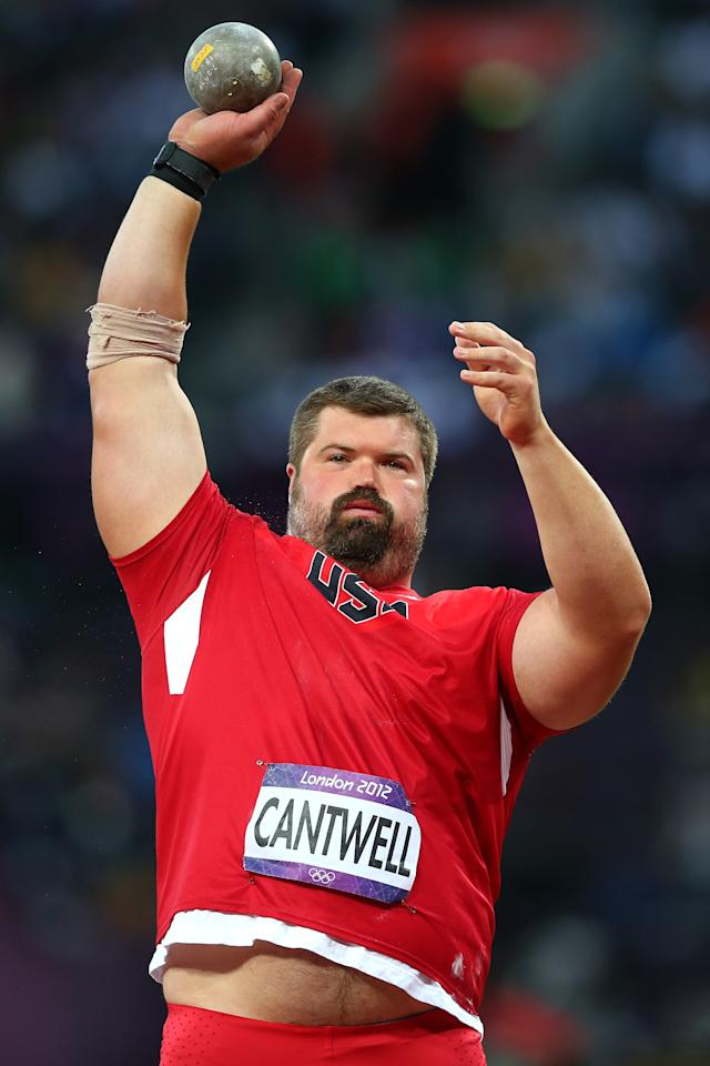 LONDON, ENGLAND - AUGUST 03: Christian Cantwell of the United States competes in the Men's Shot Put Final on Day 7 of the London 2012 Olympic Games at Olympic Stadium on August 3, 2012 in London, England. (Photo by Alexander Hassenstein/Getty Images)