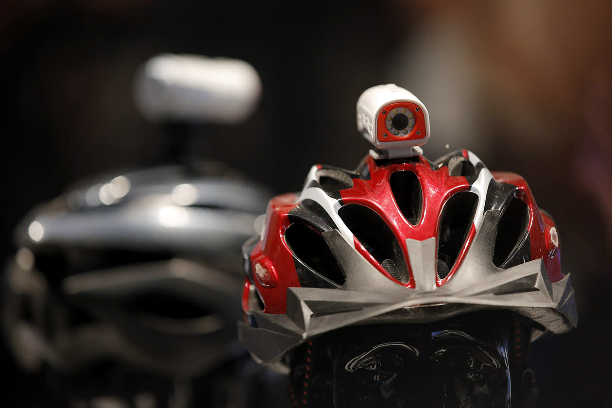 Polaroid's HD sports video camera is mounted on a helmet at the International Consumer Electronics Show in Las Vegas.