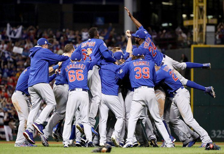 CLEVELAND, OH - NOVEMBER 02: The Chicago Cubs celebrate after winning 8-7 against the Cleveland Indians in Game Seven of the 2016 World Series at Progressive Field on November 2, 2016 in Cleveland, Ohio. The Cubs win their first World Series in 108 years. (Photo by Ezra Shaw/Getty Images)