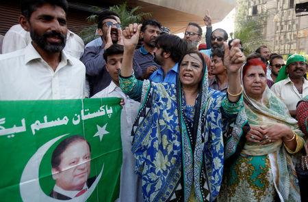 Supporters of Pakistan's Prime Minister Nawaz Sharif chant slogans following Pakistan's Supreme Court's decision on a case related to Panama Papers leaks in Karachi