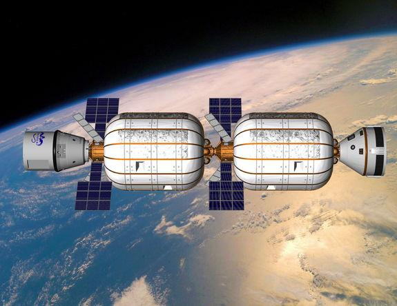 Artist's view of the Bigelow Alpha Station comprised of two BA 330 expandable habitats built by private spaceflight company Bigelow Aerospace.