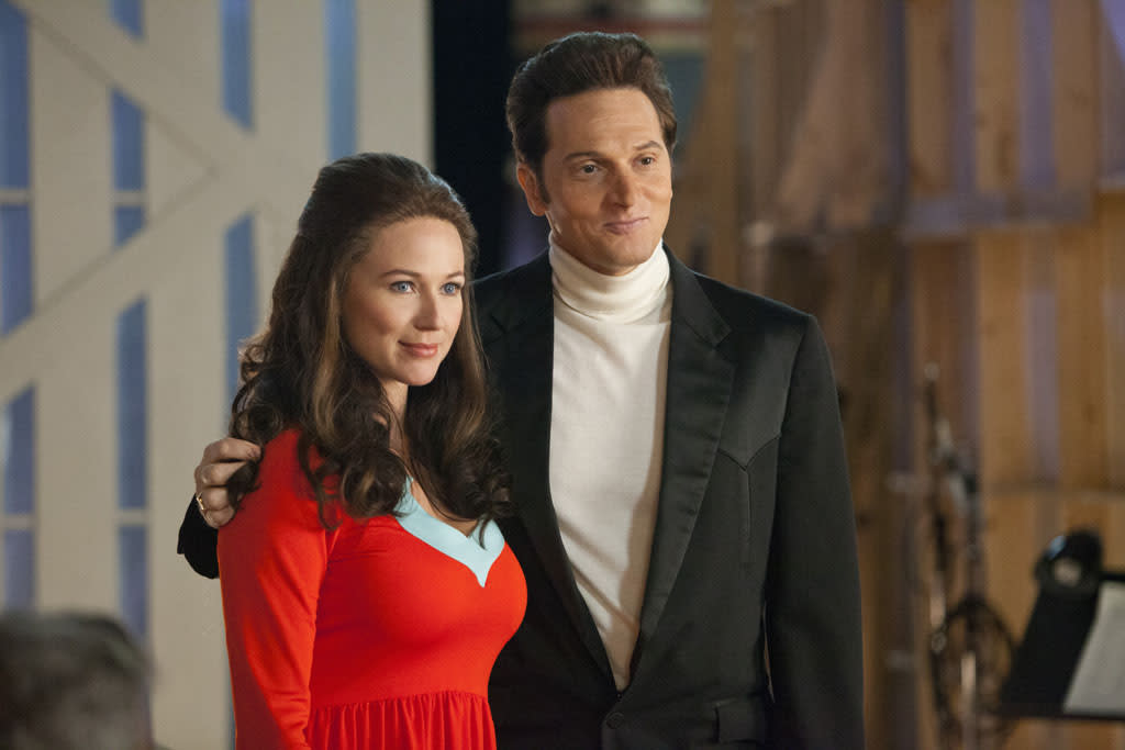 "Jewel as June Carter Cash and Matt Ross as Johnny Cash in the Lifetime Original Movie, ""Ring of Fire."""