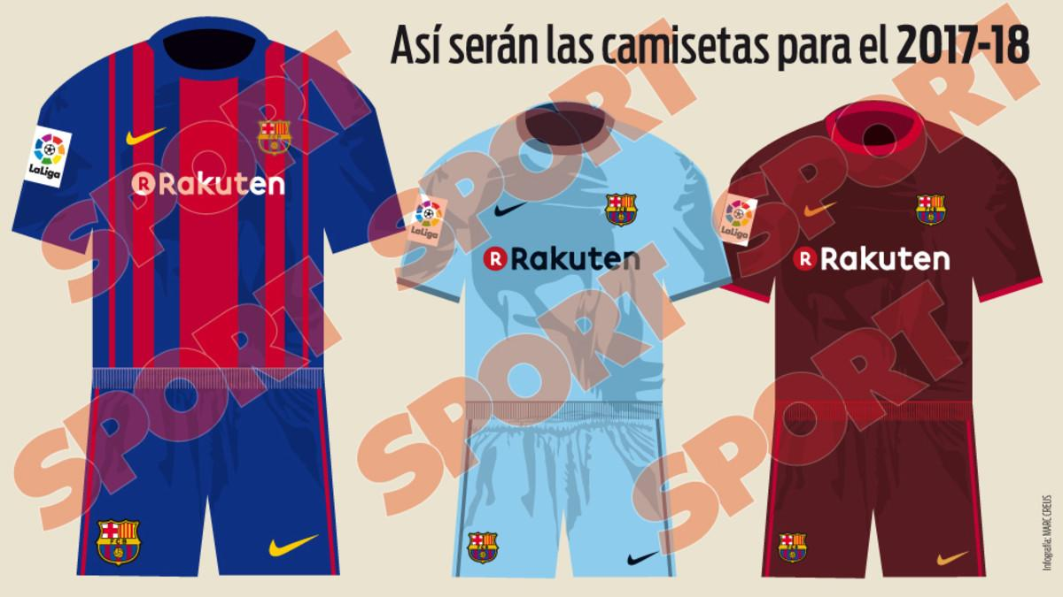 The Camp Nou giants will be wearing light blue and brown on their travels next season, while sponsors Rakuten will don their jerseys for the first time
