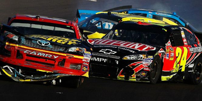 Jeff Gordon takes out Clint Bowyer at Phoenix. (Getty Images)