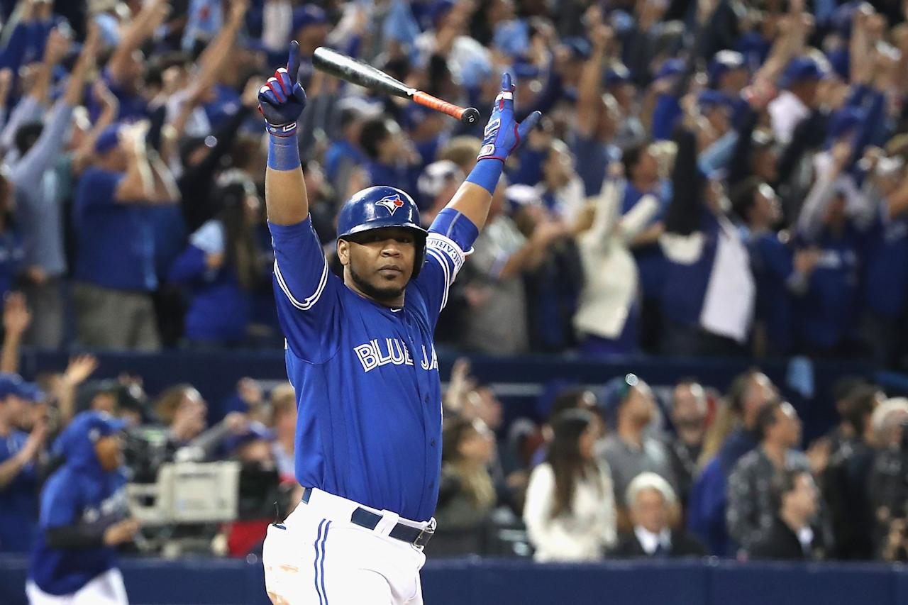 <p>A year after Jose Bautista delivered the bat flip heard 'round the world, it was Edwin Encarnacion's turn to come through with home run heroics in the postseason. Encarnacion hit a walk-off extra-innings blast against Baltimore in the AL wild-card game to kick off a Blue Jays postseason run that would end in the ALCS for a second straight season. (Getty Images) </p>