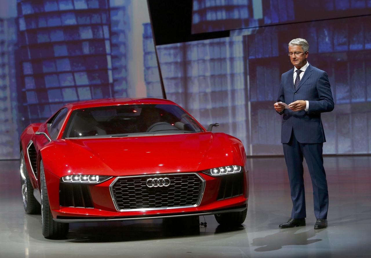 """Audi CEO, Rupert Stadler presents the new """"Audi Nanuk"""" at the Volkswagen group night at the Frankfurt motor show September 9, 2013. The world's biggest auto show is open to the public September 14 -22. REUTERS/Ralph Orlowski (GERMANY - Tags: BUSINESS TRANSPORT)"""
