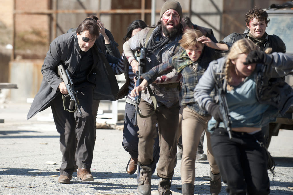 "The Governor (David Morrissey) and The people of Woodbury in ""The Walking Dead"" Season 3 Finale, ""Welcome to the Tombs."""