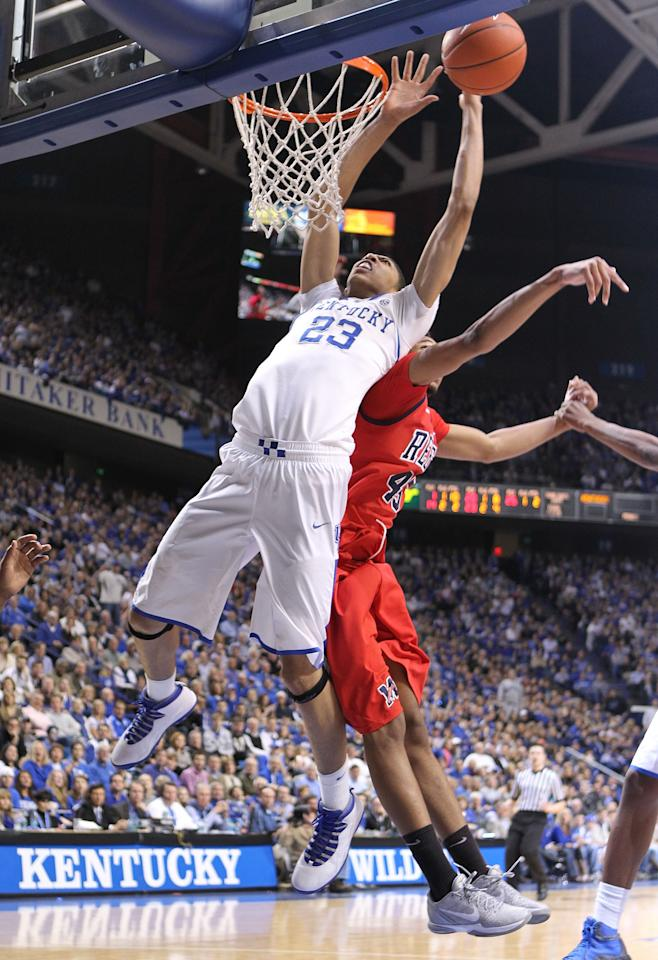 LEXINGTON, KY - FEBRUARY 18:  Anthony Davis #23 of the Kentucky Wildcats reaches for a rebound during the game against the Ole Miss Rebels at Rupp Arena on February 18, 2012 in Lexington, Kentucky.  (Photo by Andy Lyons/Getty Images)