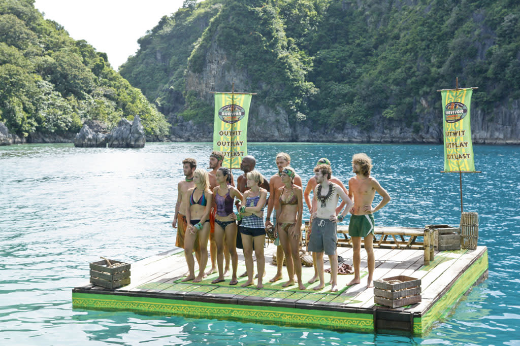 """""""Cut Off the Head of the Snake"""" - The tribe stands together before the Immunity Challenge during the ninth episode of """"Survivor: Caramoan - Fans vs. Favorites."""""""