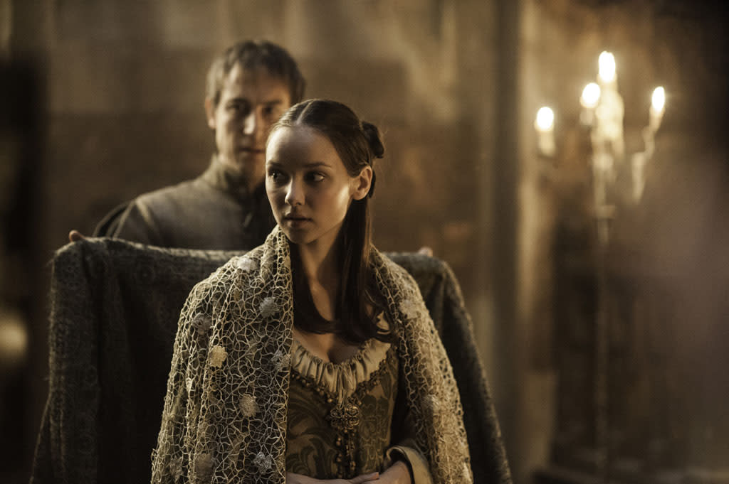 """Tobias Menzies and Roslyn Frey in the """"Game of Thrones"""" episode, """"The Rains of Castamere."""""""