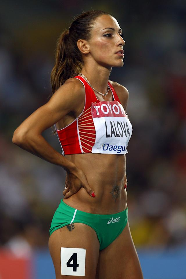 DAEGU, SOUTH KOREA - AUGUST 29:  Ivet Lalova of Bulgaria prepares to compete in the women's 100 metres semi finals during day three of the 13th IAAF World Athletics Championships at the Daegu Stadium on August 29, 2011 in Daegu, South Korea.  (Photo by Alexander Hassenstein/Bongarts/Getty Images)