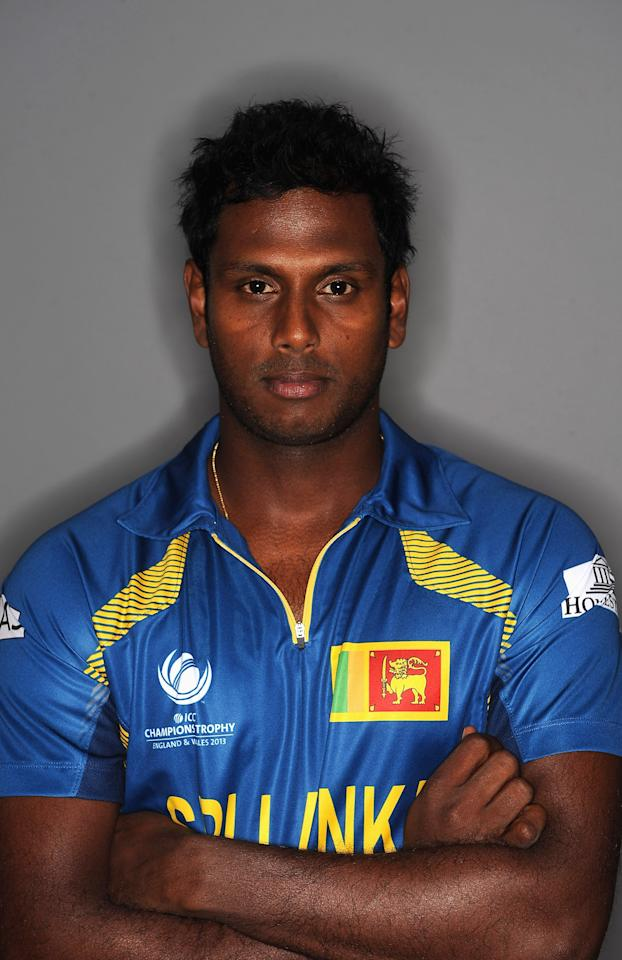 BIRMINGHAM, ENGLAND - MAY 28:  Captain Angelo Mathews of Sri Lanka during the Sri Lanka Portrait Session at the Marriott Hotel on May 28, 2013 in Birmingham, England.  (Photo by Christopher Lee-ICC/ICC via Getty Images)