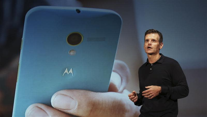 Motorola Mobility CEO Woodside talks during the worldwide presentation of the Moto G mobile phone in Sao Paulo