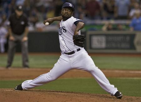 Tampa Bay Rays closer Rodney pitches against the Boston Red Sox during their MLB American League baseball game in St. Petersburg