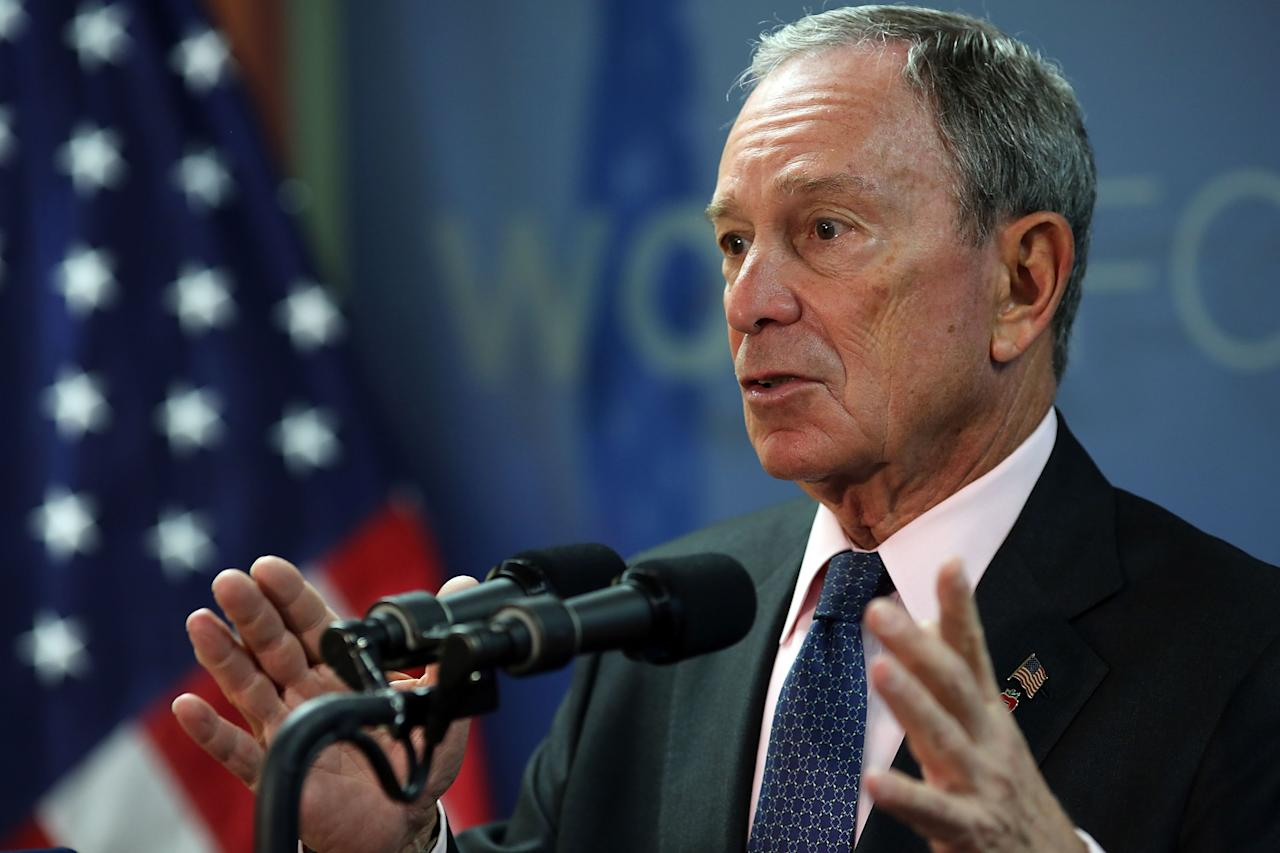 NEW YORK, NY - JULY 31:  New York City Mayor Michael Bloomberg speaks to the media at the opening of the Workforce1 Veterans Career center on July 31, 2012 in New York City. The center will offer area veterans assistance in their job search, help with resumes and classes on how to perfect the interview process. According to the Bureau of Labor Statistics, the unemployment rate for all veterans in June was 7.4 percent.  (Photo by Spencer Platt/Getty Images)