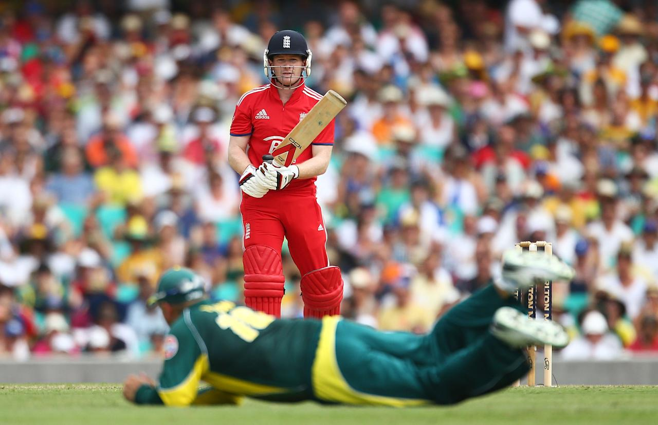SYDNEY, AUSTRALIA - JANUARY 19: Eoin Morgan of England bats during game three of the One Day International Series between Australia and England at Sydney Cricket Ground on January 19, 2014 in Sydney, Australia.  (Photo by Mark Nolan/Getty Images)