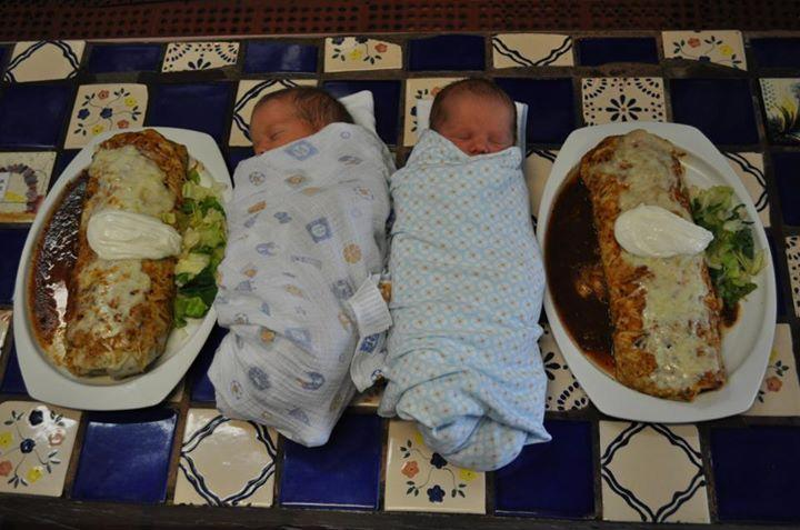 Apparently this is the first pair of twins to be feautured in a baby and burrito photo at Gorditos.