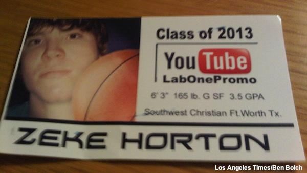 Southwest Christian School basketball player Zeke Horton's business card