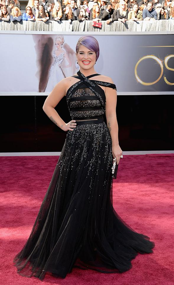 Kelly Osbourne arrives at the Oscars in Hollywood, California, on February 24, 2013.