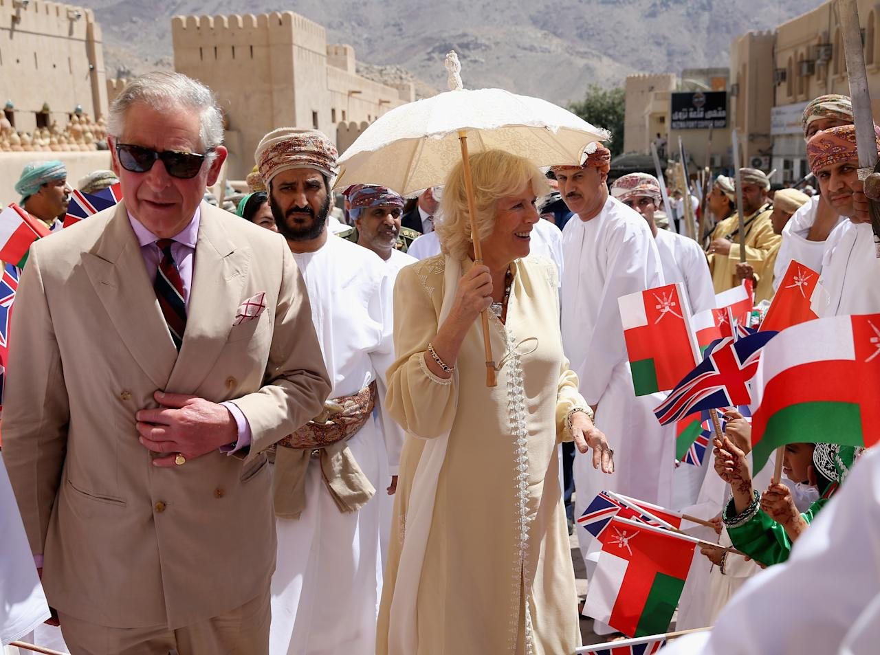 NIZWA, OMAN - MARCH 18:  Prince Charles, Prince of Wales and Camilla, Duchess of Cornwall visit Nizwa Fort on the eighth day of a tour of the Middle East on March 18, 2013 in Nizwa, Oman. The Royal couple are on the fourth and final leg of a tour of the Middle East taking in Jordan, Qatar, Saudia Arabia and Oman.  (Photo by Chris Jackson/Getty Images)