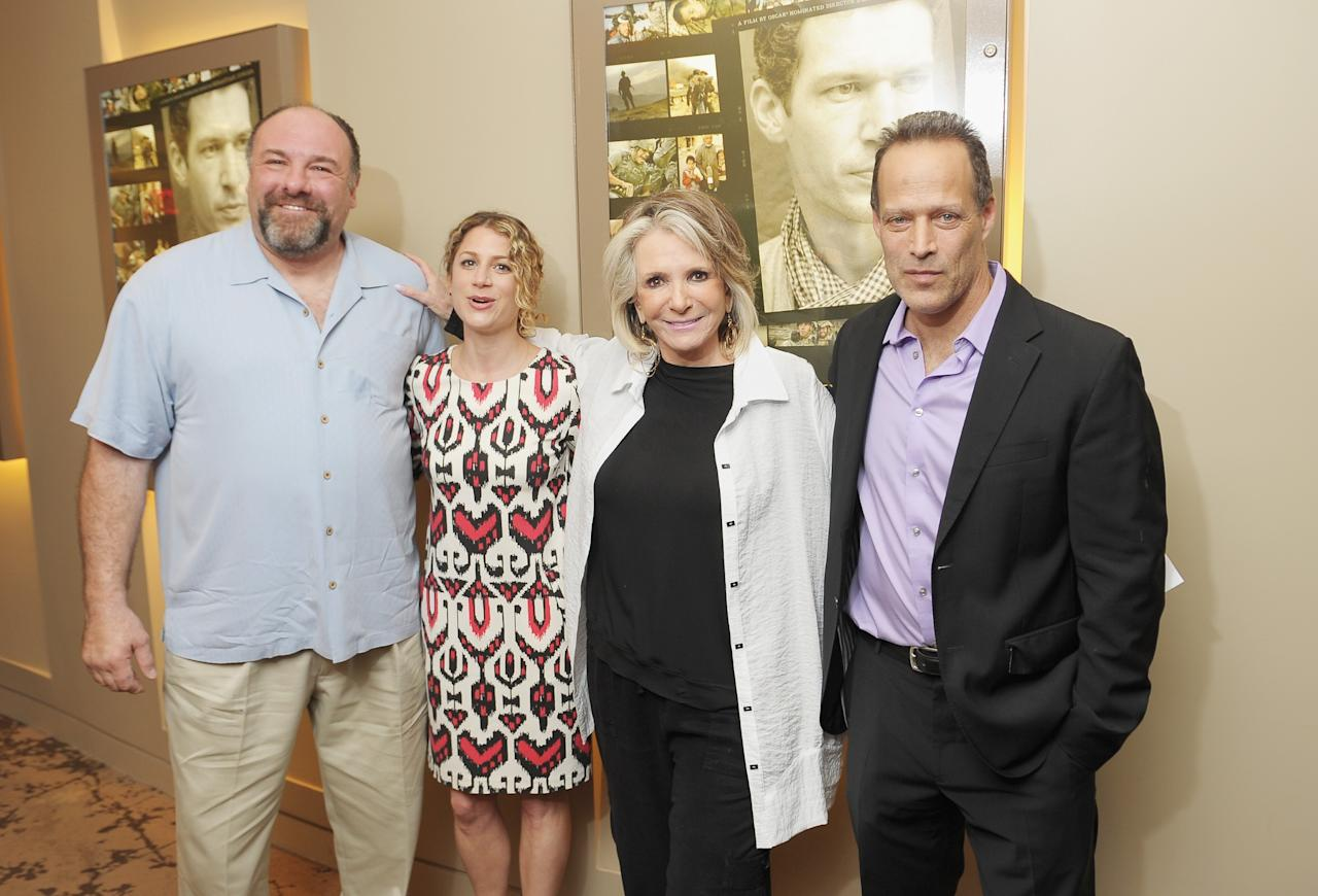 """NEW YORK, NY - APRIL 10:  (L-R) Actor James Gandolfini, VP of HBO Documentary Sara Bernstein, President of HBO Documentary Films Sheila Nevins, and filmmaker/journalist Sebastian Junger attend the HBO Documentary Films New York Premiere of """"Which Way Is The Front Line From Here?"""" at HBO Theater on April 10, 2013 in New York City.  (Photo by Michael Loccisano/Getty Images for HBO)"""
