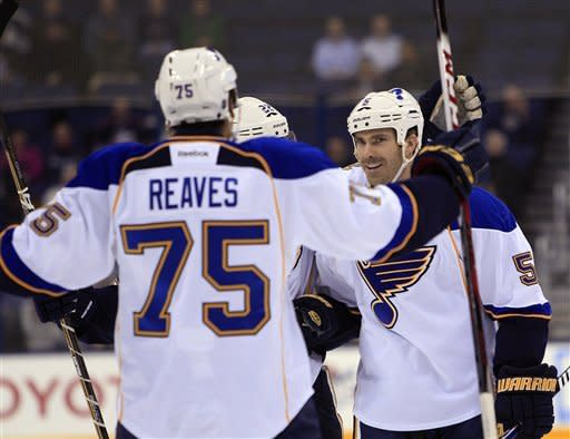 Early blitz carries Blues to 4-1 win over Jackets