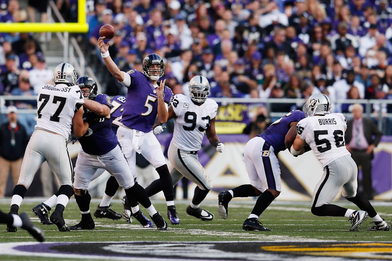 BALTIMORE, MD - NOVEMBER 11: Quarterback Joe Flacco #5 of the Baltimore Ravens throws a pass against the Oakland Raiders during the third quarter at M&T Bank Stadium on November 11, 2012 in Baltimore, Maryland.  (Photo by Rob Carr/Getty Images)