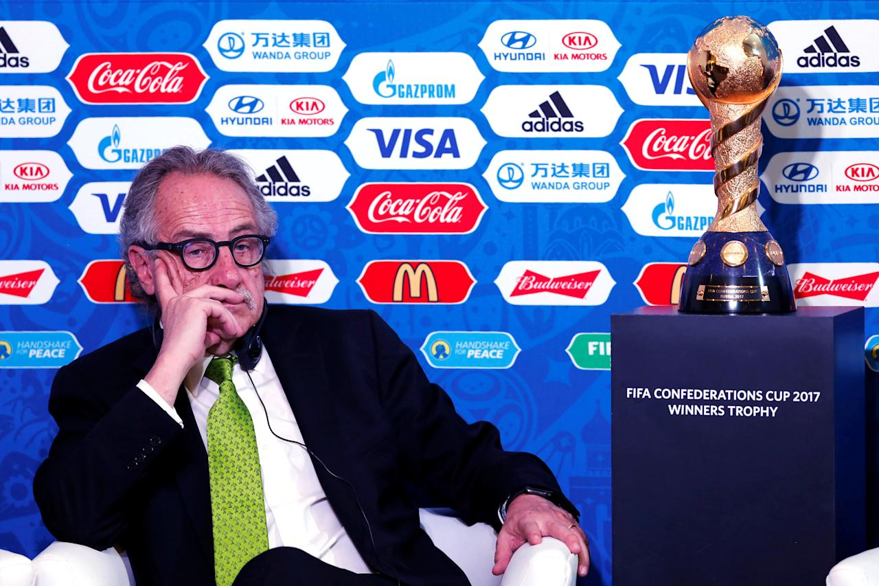 Decio de Maria, President of the Mexican Football Federation (FMF), gestures during a news conference about FIFA Confederations Cup Russia 2017 as part of the 66th FIFA Congress, in Mexico City, Mexico, May 11, 2016. REUTERS/Edgard Garrido