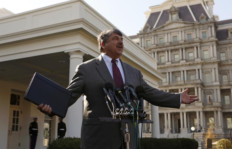 AFL-CIO President Trumka speaks after a meeting with Obama in Washington