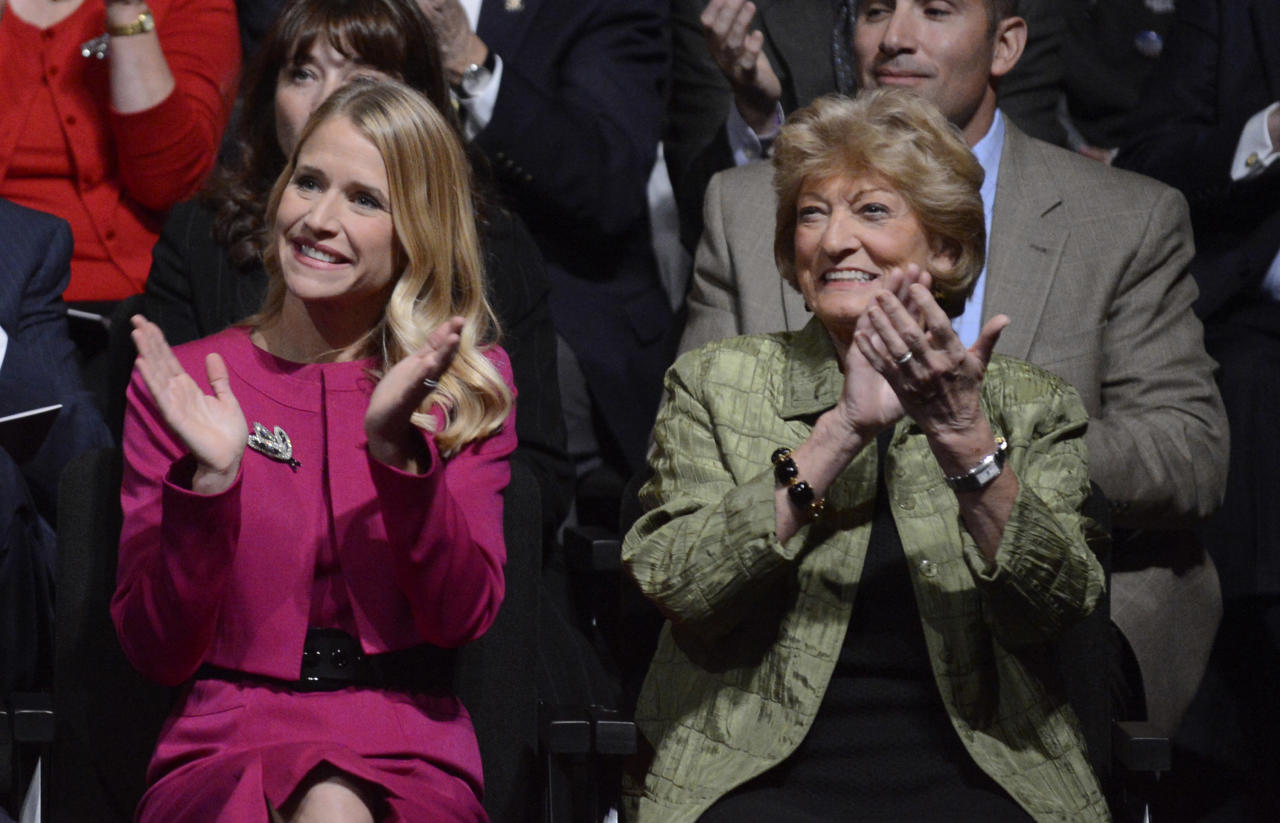 DANVILLE, KY - OCTOBER 11:  Janna Ryan (L), wife of Republican vice presidential candidate U.S. Rep. Paul Ryan (R-WI) and his mother Betty Douglas (R) applaud before the vice presidential debate at Centre College on October 11, 2012 in Danville, Kentucky. This is the second of four debates during the presidential election season and the only debate between the vice presidential candidates before the closely-contested election November 6.  (Photo by Michael Reynolds-Pool/Getty Images)