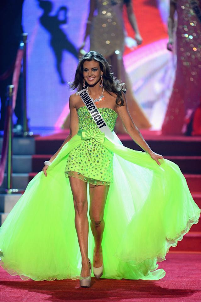 LAS VEGAS, NV - JUNE 16:  Miss Connecticut USA Erin Brady walks onstage during the 2013 Miss USA pageant at PH Live at Planet Hollywood Resort & Casino on June 16, 2013 in Las Vegas, Nevada.  (Photo by Ethan Miller/Getty Images)