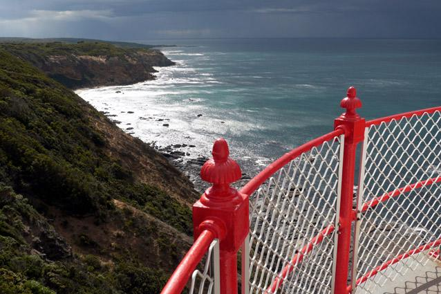 View from Cape Otway lightstation. Photo: xlynx - It towers above the frothy sea where the Bass Strait and Southern Ocean meet. It's also a popular pit stop for those driving down Australia's Great Ocean Road, along with the nearby Great Otway National Park.