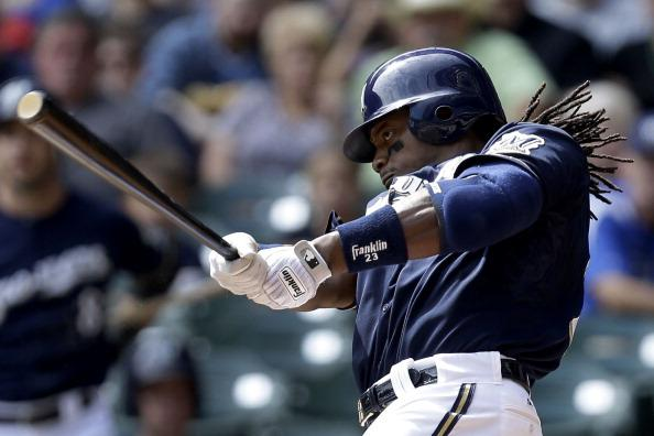 Rickie Weeks #23 of the Milwaukee Brewers hits a single in the bottom of the 1st inning against the Pittsburgh Pirates at Miller Park on September 02, 2012 in Milwaukee, Wisconsin. (Photo by Mike McGinnis/Getty Images)