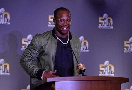 Feb 8, 2016; San Francisco, CA, USA;  Denver Broncos linebacker Von Miller addresses the media after being selected as Super Bowl 50 most valuable player after 24-10 victory over the Carolina Panthers during press conference at the Moscone Center. Kirby Lee-USA TODAY Sports
