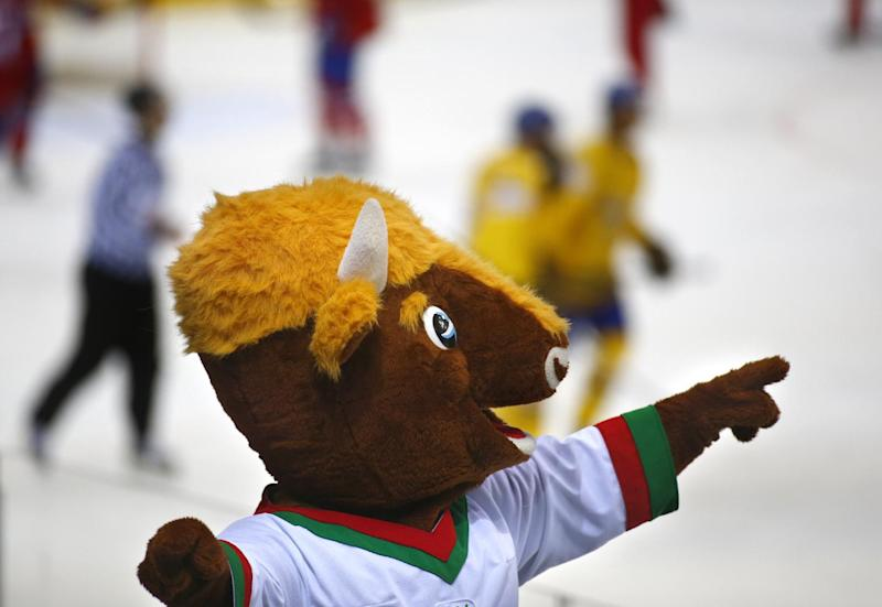 IIHF mascot is seen during the Group A preliminary round match between Norway and Sweden at the Ice Hockey World Championship in Minsk, Belarus, Tuesday, May 13, 2014