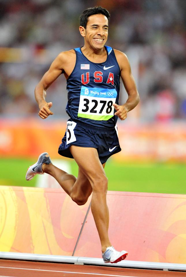 Aug 17, 2008; Beijing,CHINA; Leonel Manzano (USA) was 12th in mens 1,500m heat in 3:50.33 at National Stadium during the 2008 Beijing Olympic Games. Mandatory Credit: Kirby Lee/Image of Sport-US PRESSWIRE