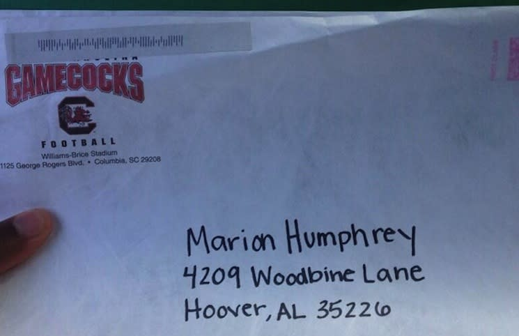 Eighth grader Marion Humphrey's first Division I football recruiting letter — Twitter