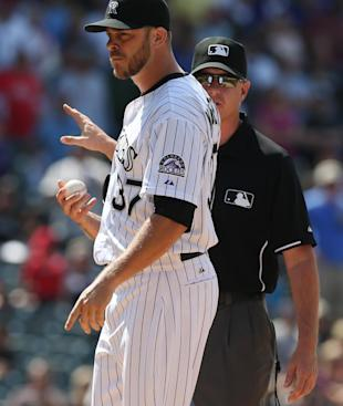 Rockies pitcher Nick Masset was one of four ejections in a tension-filled game. (AP)