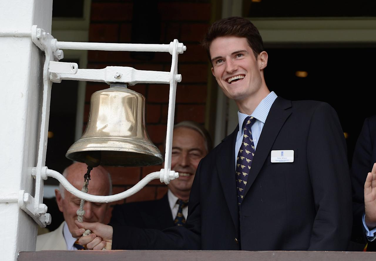 LONDON, ENGLAND - AUGUST 17:  Olympic gold medal winning shooter Peter Wilson rings the five minute bell ahead of day two of 3rd Investec Test match between England and South Africa at Lord's Cricket Ground on August 17, 2012 in London, England.  (Photo by Gareth Copley/Getty Images)