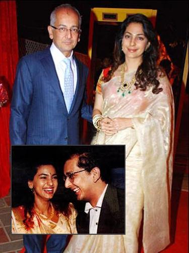 <b>Juhi Chawla and Jay Mehta<br><br></b><p> The ever smiling and chirpy actress, Juhi Chawla, managed to keep  her romance with industrialist Jay Mehta, under wraps for quite some  time until they got married in 1997. The couple is blessed with a son  and a daughter. Juhi is keeping her 'filmi-career' alive by working in  selective roles.</p>