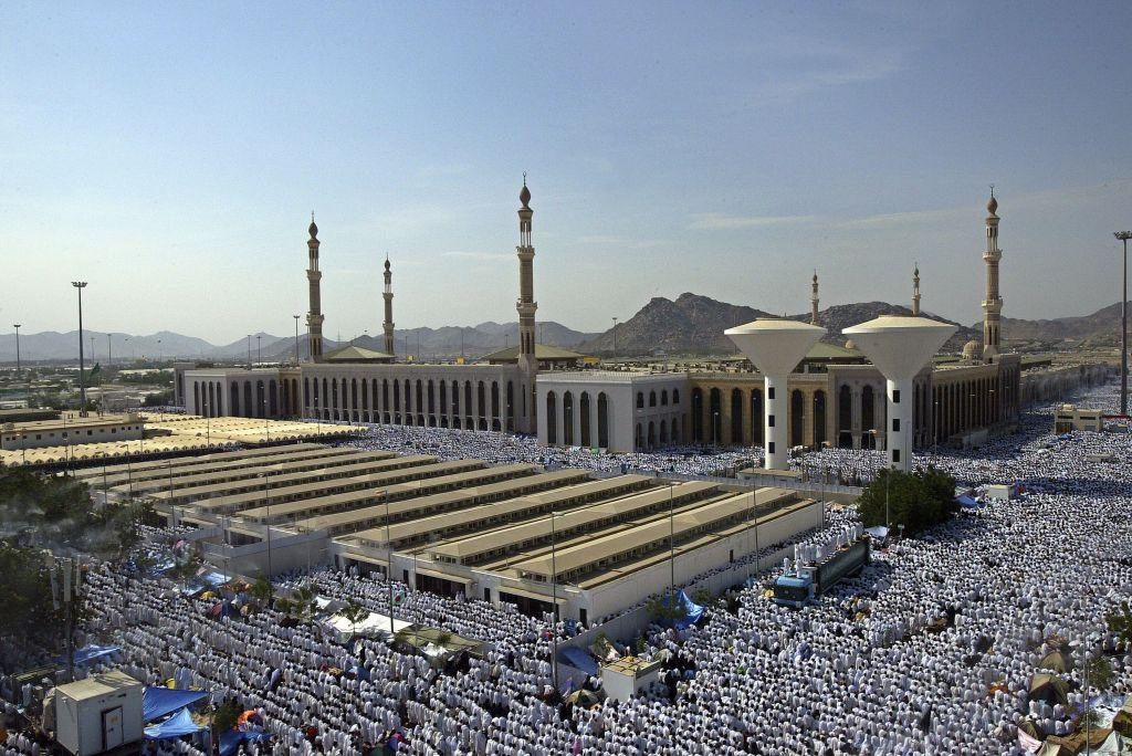 <p>ARAFAT, SAUDI ARABIA: Muslim pilgrims attend noon prayers at the Nimira mosque in Arafat, outside the holy city of Mecca in Saudi Arabia. Muslim pilgrims journey to Arafat, a revered place in Islam, for the culmination of the Hajj rituals. Mount Arafat, about 70 metres high, is a granite hill to the east of the Holy City of Makkah. The pious believe that it was on Mount Arafat that Adam and Eve, separated for 200 years, recognized each other and were reunited.</p>