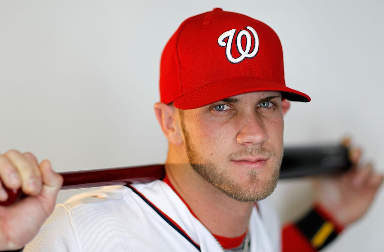 VIERA, FL - FEBRUARY 28:  Bryce Harper #34 of the Washington Nationals poses during photo day at Space Coast Stadium on February 28, 2012 in Viera, Florida.  (Photo by Mike Ehrmann/Getty Images)