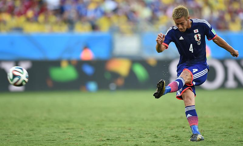 Japan's Keisuke Honda during a World Cup match at the Pantanal Arena in Cuiaba on June 24, 2014