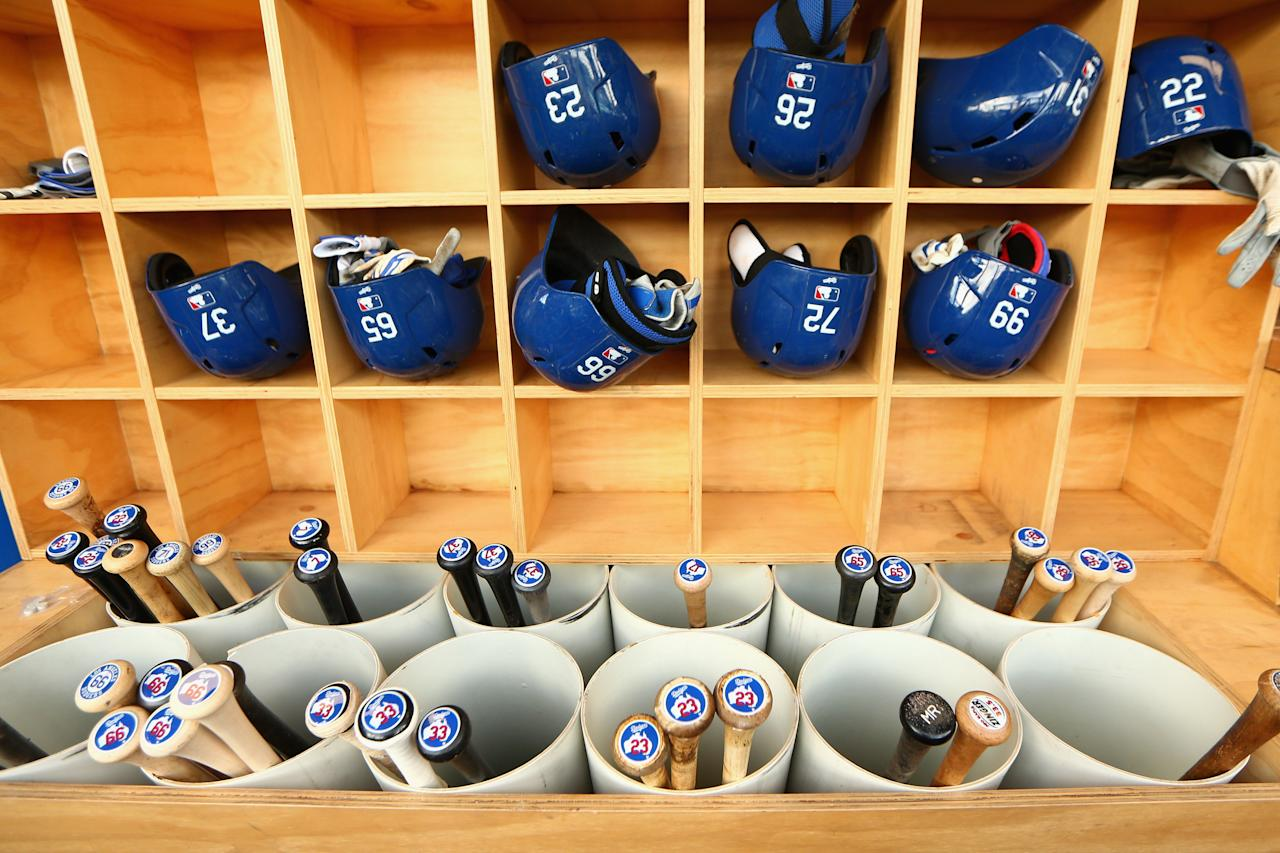 SYDNEY, AUSTRALIA - MARCH 21:  Detail of the Dodgers dugout during a Los Angeles Dodgers MLB training session at Sydney Cricket Ground on March 21, 2014 in Sydney, Australia.  (Photo by Cameron Spencer/Getty Images)