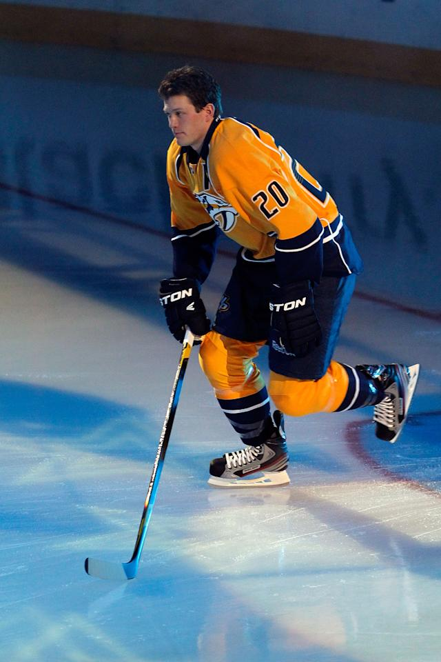 OTTAWA, ON - JANUARY 28:  Ryan Suter #20 of the Nashville Predators and Team Chara gets introduced prior to the 2012 Molson Canadian NHL All-Star Skills Competition at Scotiabank Place on January 28, 2012 in Ottawa, Ontario, Canada.  (Photo by Gregory Shamus/Getty Images)